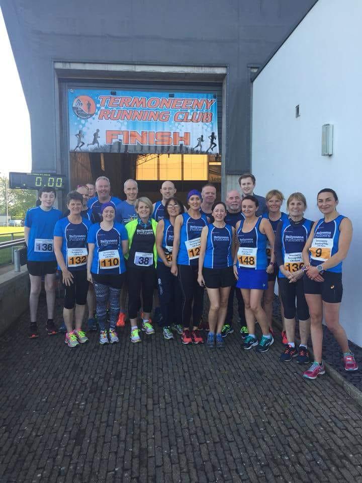 Ballymena Runners line up before the Termoneeny 10k