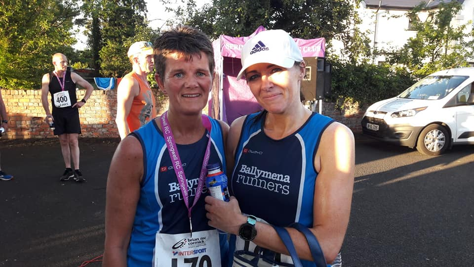 Linda Petticrew and Paula Worthington, first two Ballymena Runners ladies at the Round The Bridges 10-miler