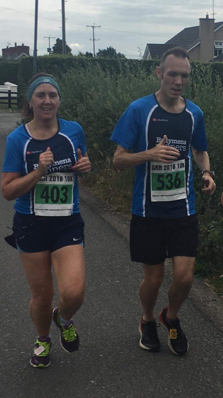 Debbie Watters (403) and Jim Moore (536) at the Great Rossa Run
