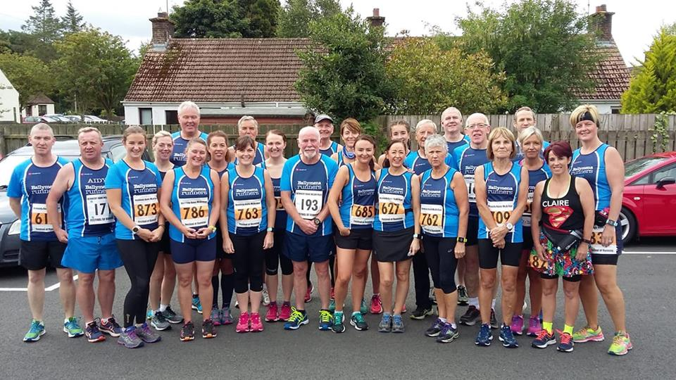 Ballymena Runners line up before the Dark Hedges Half Marathon
