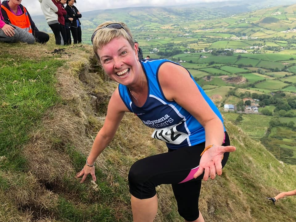 Nolene Ervine is still smiling up Lurig mountain