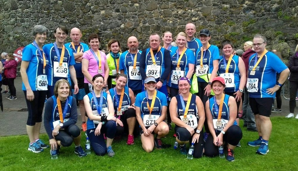 Some of the Ballymena Runners squad at the Storming The Castle 10k on Sunday