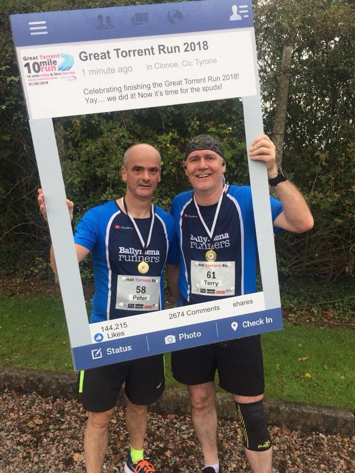 Peter Faith and Terry Foley relax after completing the Great Torrent Run