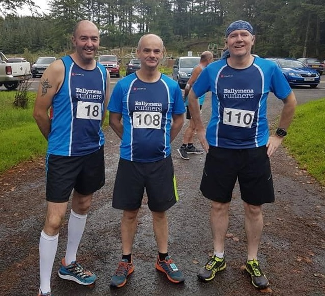 Seamus Kelly, Peter Faith and Terry Foley at Davagh Forest for the O'Brien Challenge