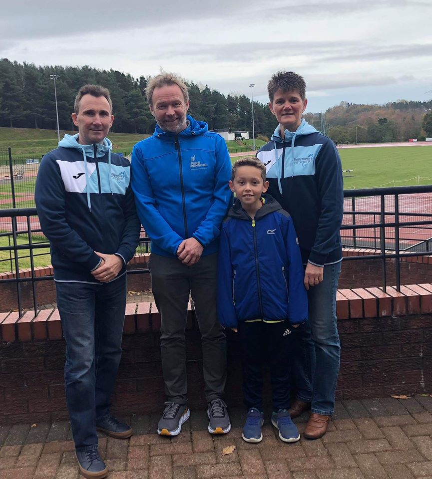 Rodney Agnew and Linda Petticrew - age category winners in the 2018 Pure Running Half Marathon series with Michael Jenkins (Pure Running)
