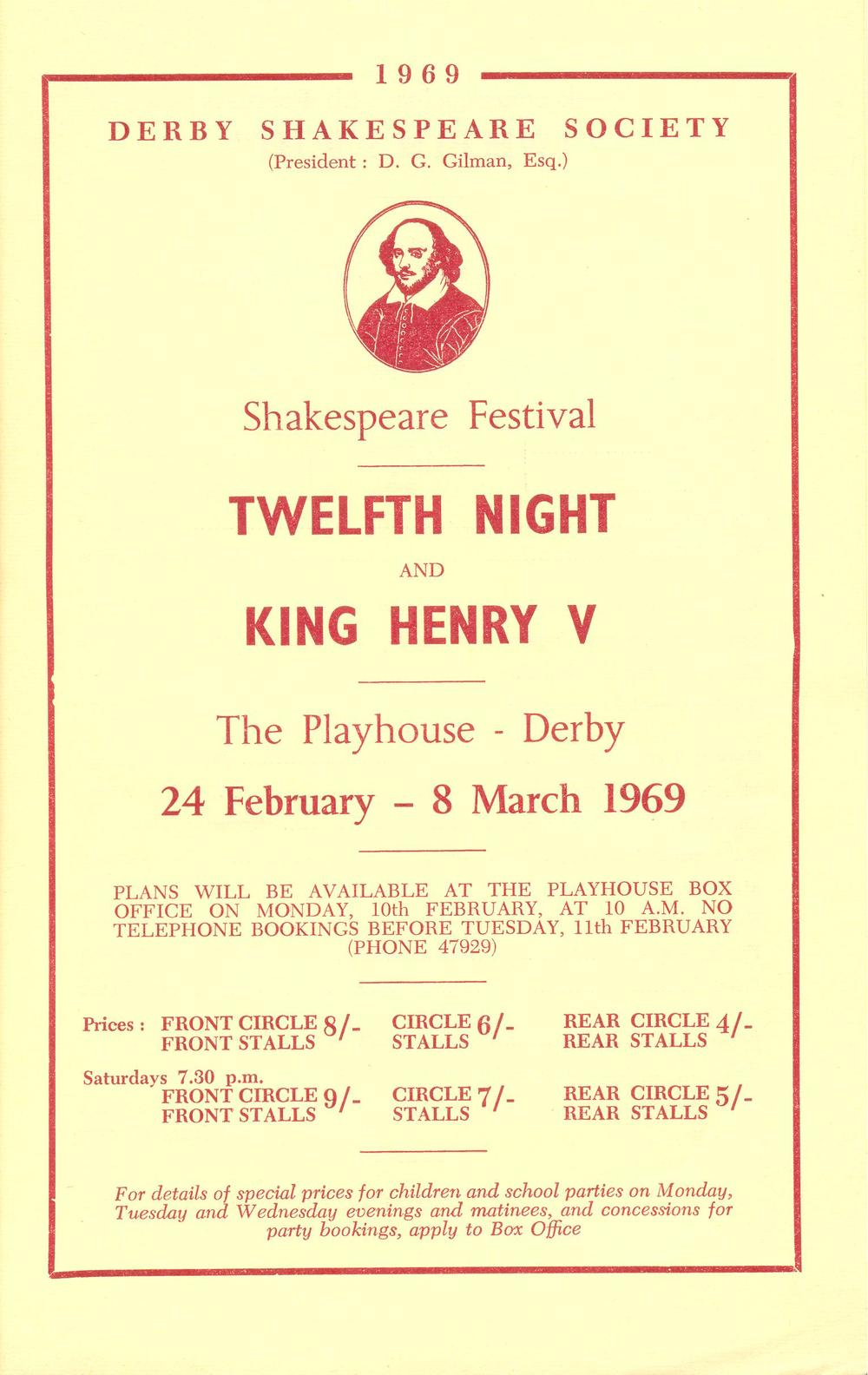 'Twelfth Night' & 'Henry V' 1969