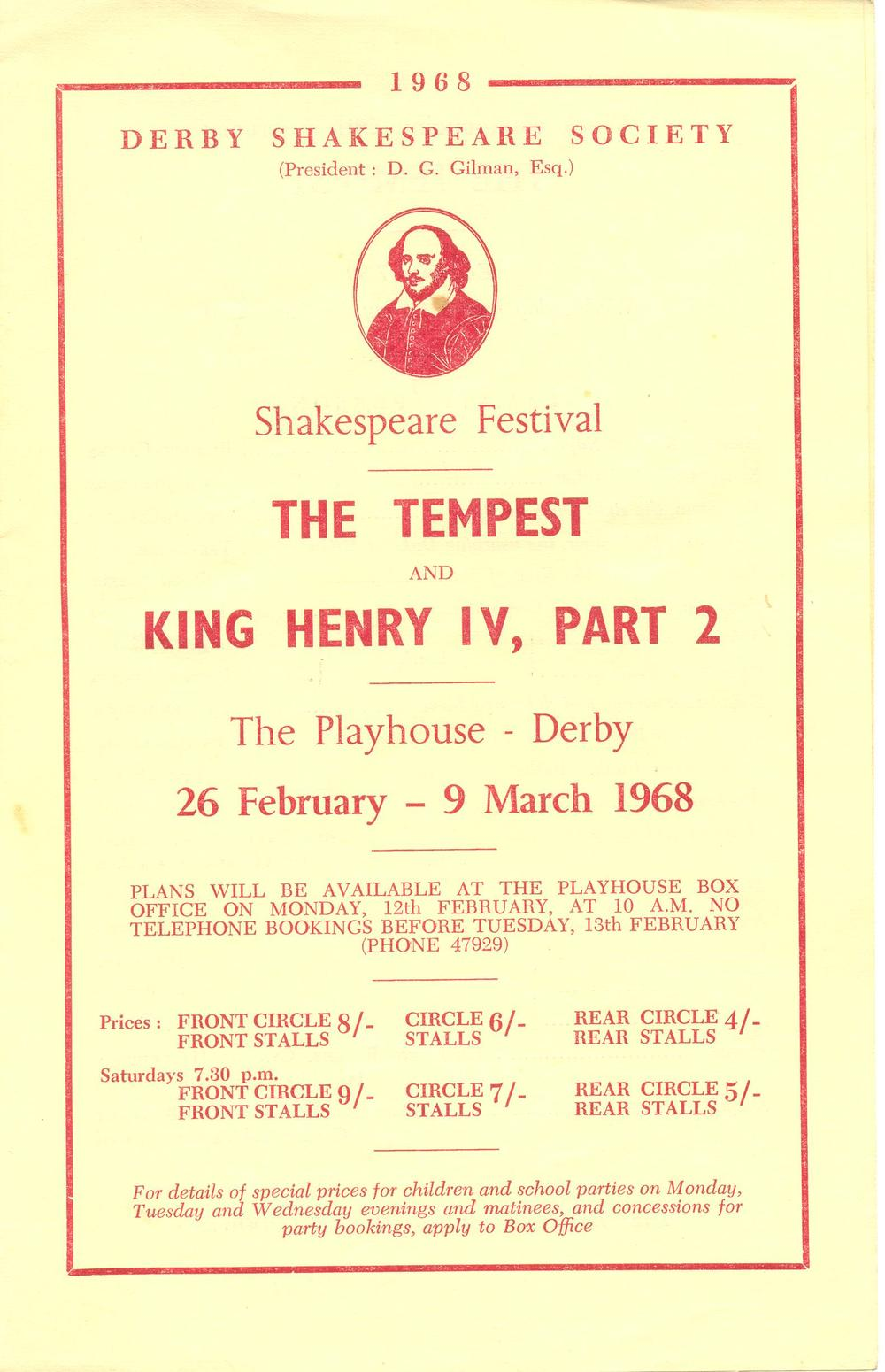 'The Tempest' & 'Henry IV (Part II)' 1968