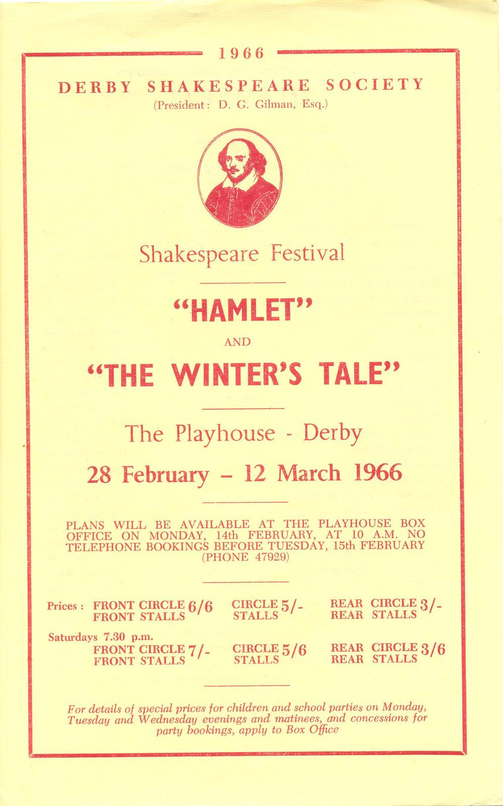 'Hamlet' & 'The Winter's Tale' 1966