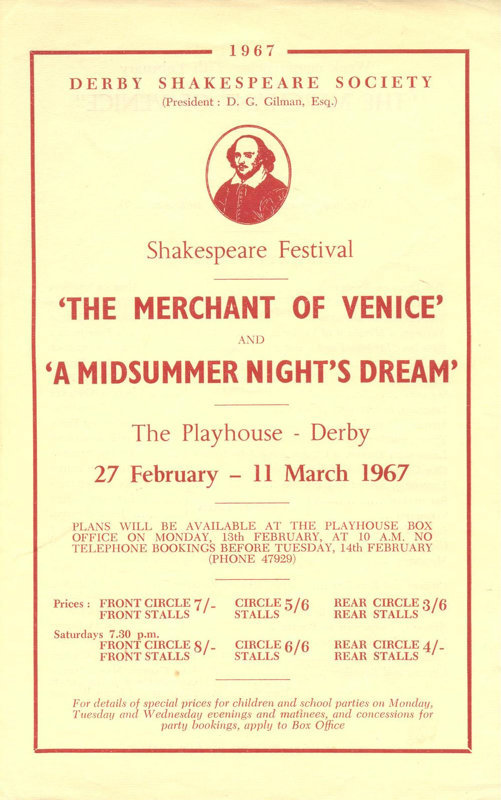 'The Merchant Of Venice' & 'A Midsummer Night's Dream' 1967