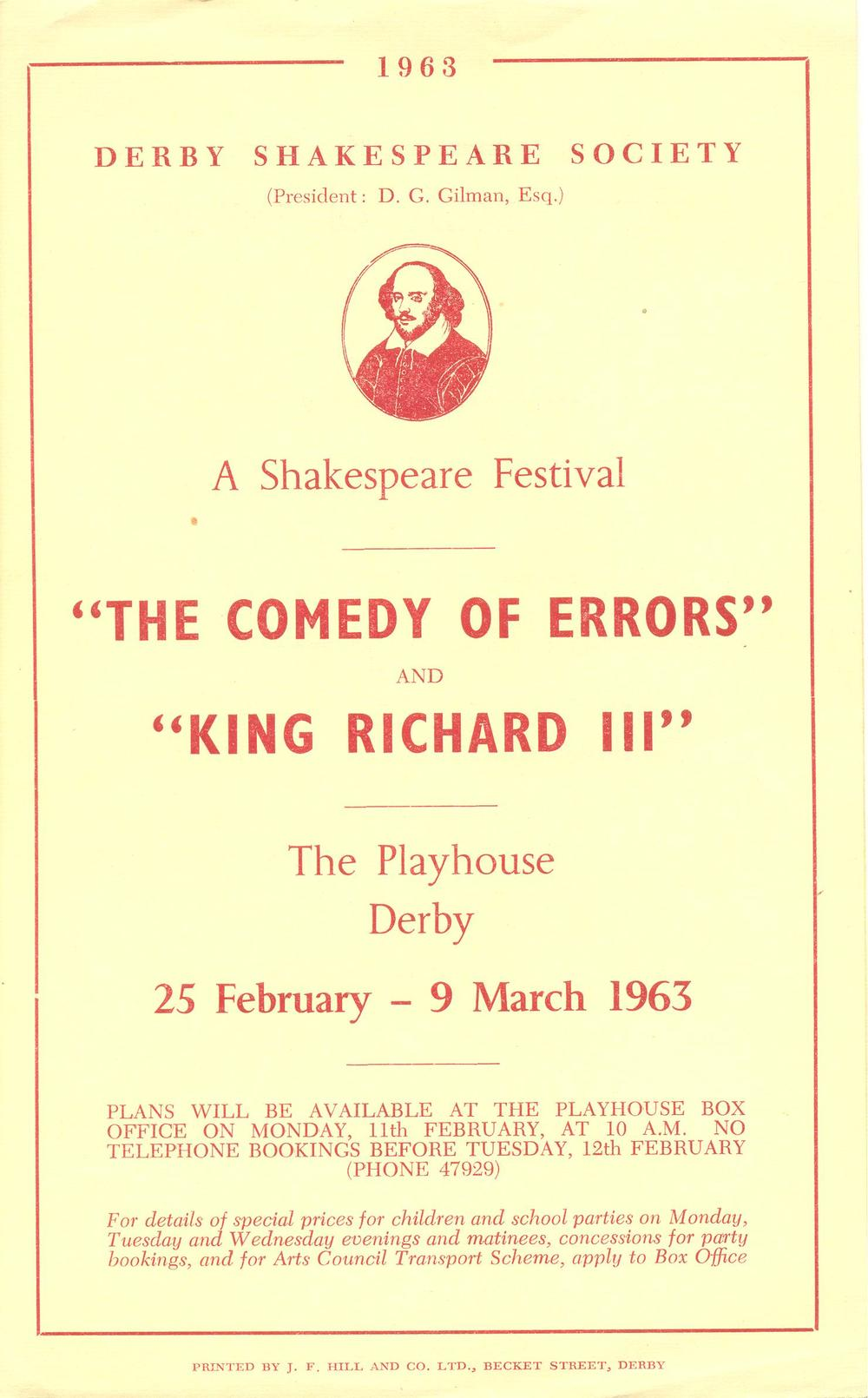 'The Comedy Of Errors' & 'Richard III' 1963