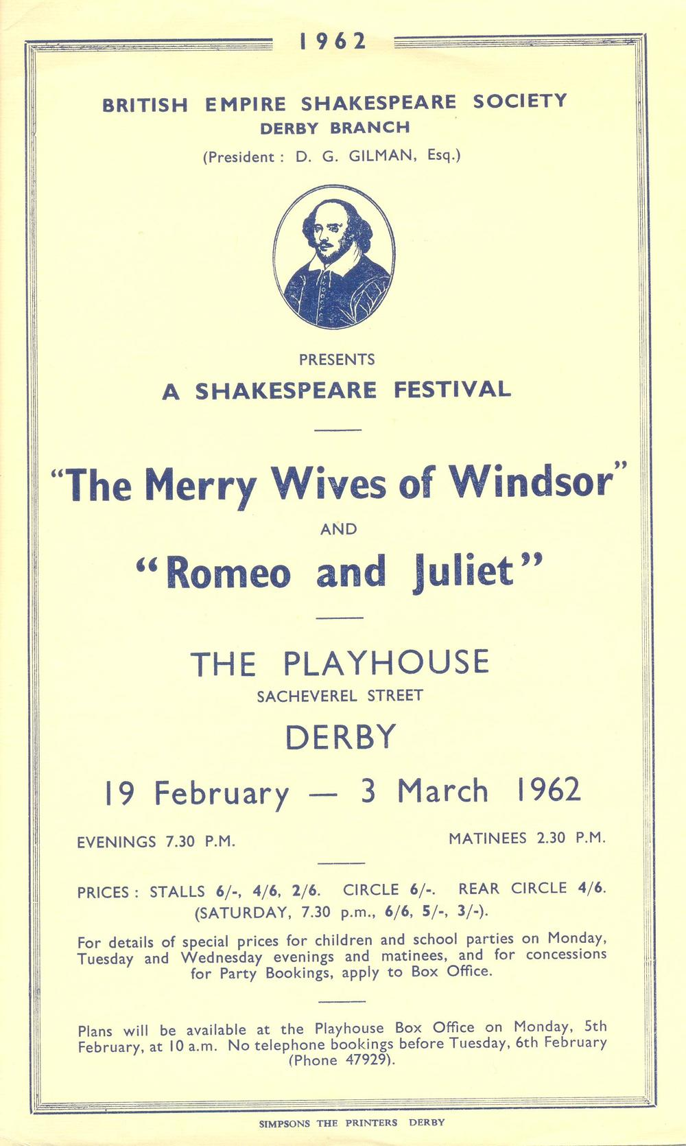 'The Merry Wives Of Windsor' & 'Romeo & Juliet' 1962