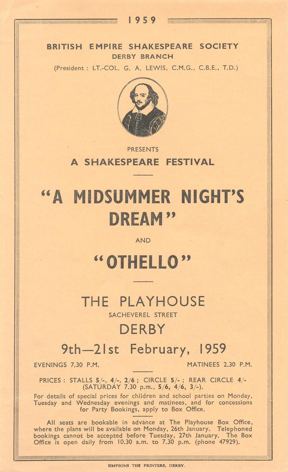 'A Midsummer Night's Dream' & 'Othello' 1959