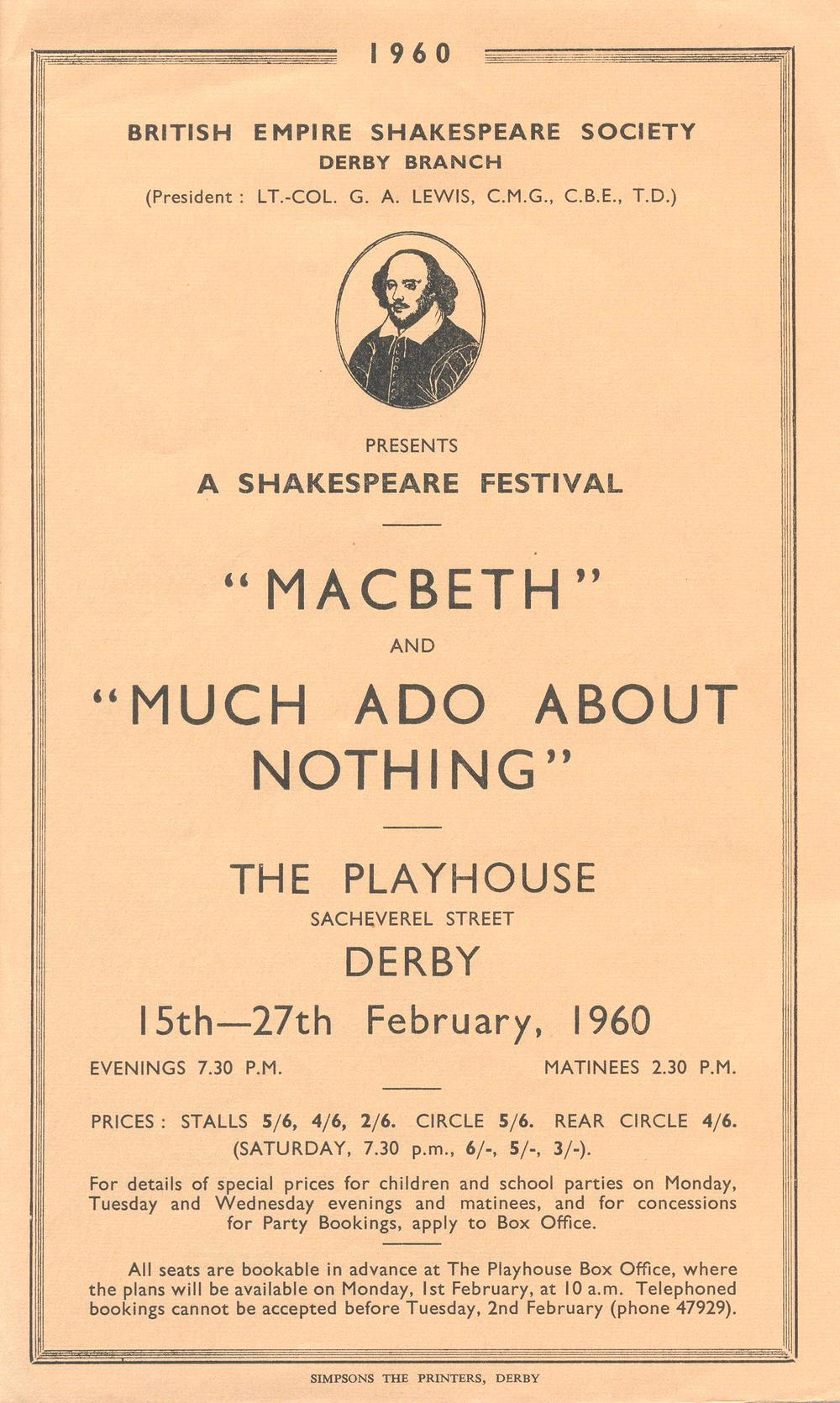'Macbeth' & ' Much Ado About Nothing' 1960