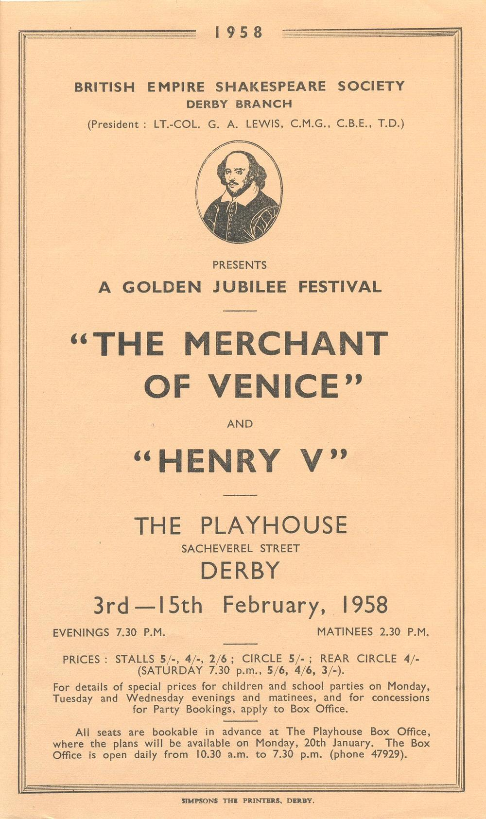 'The Merchant Of Venice' & 'Henry V' 1958