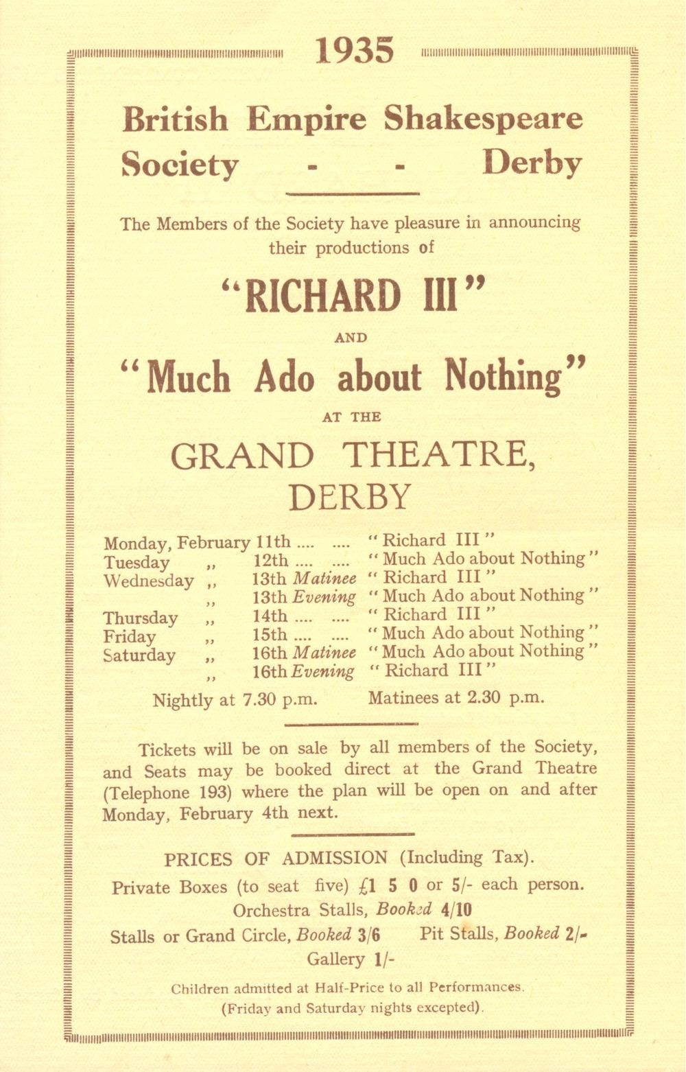 'Richard III' & 'Much Ado About Nothing' 1935