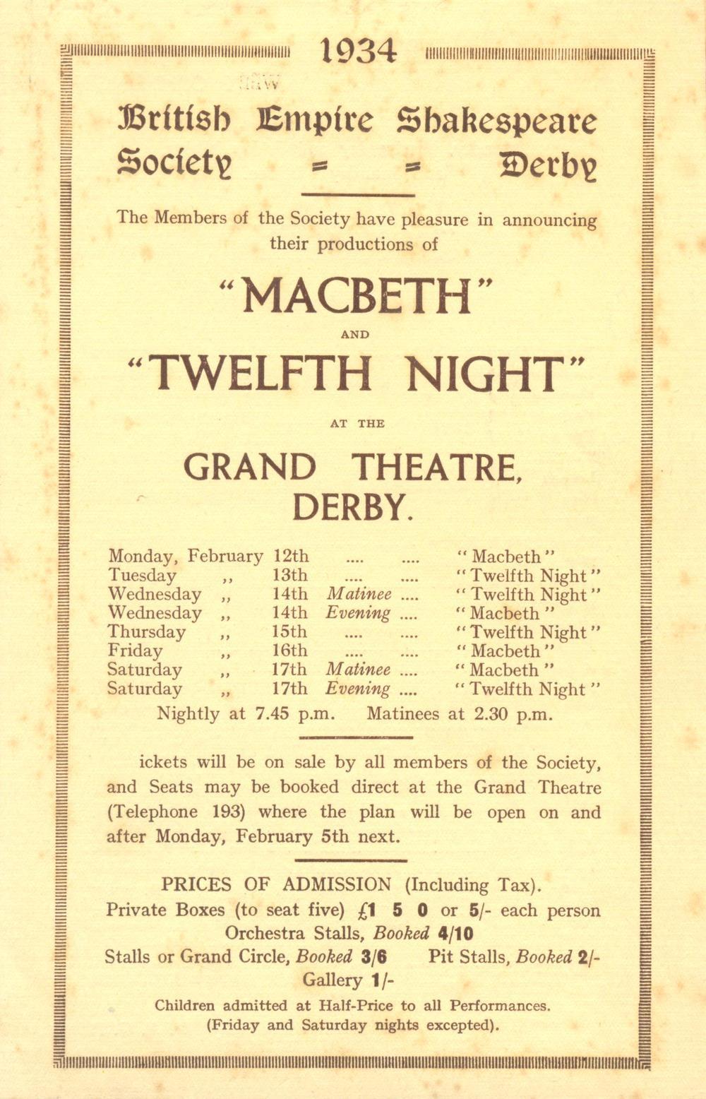 'Macbeth' & 'Twelfth Night' 1934