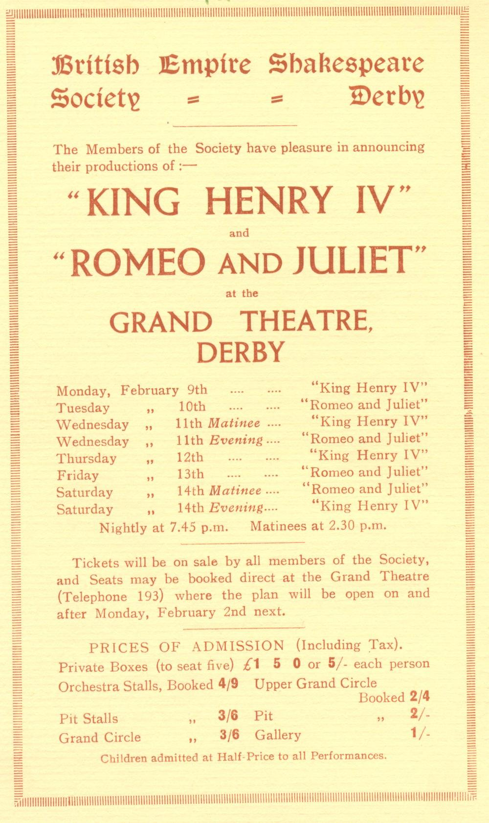 'Henry IV (Part I)' & 'Romeo & Juliet' 1931