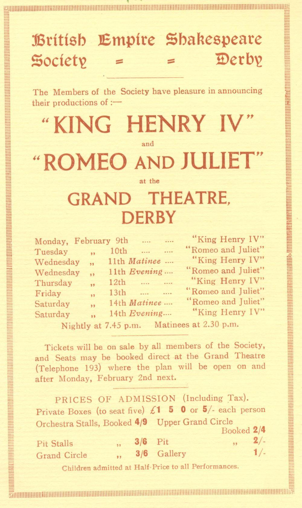 'Henry IV (Part I)' & 'Romeo & Juliet' 1931