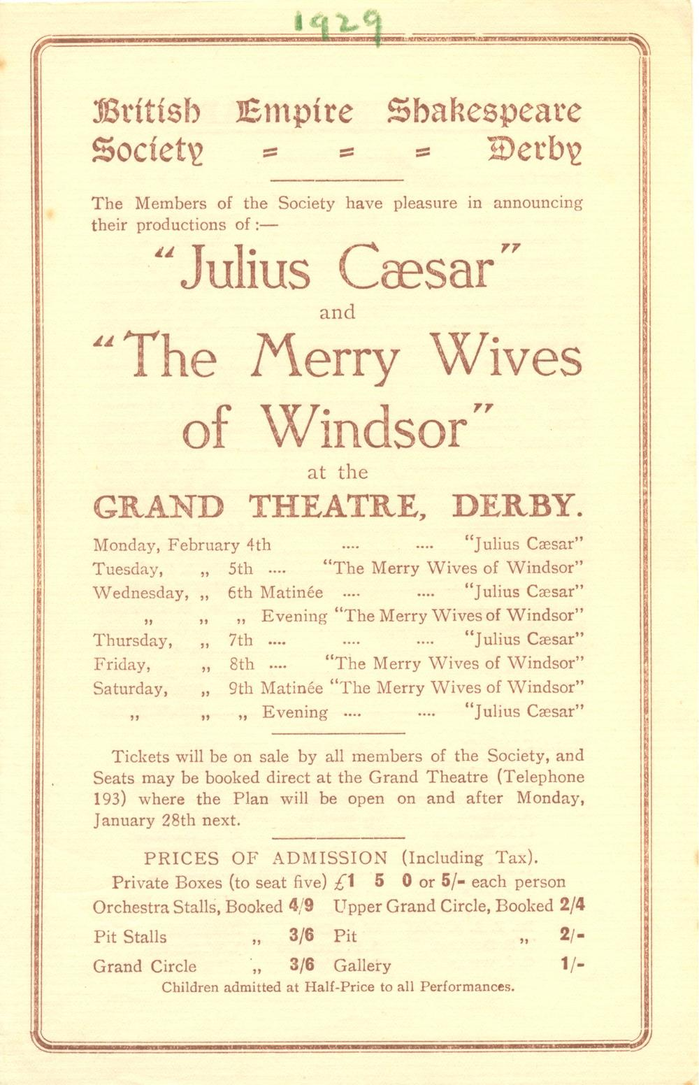 'Julius Caesar' & 'The Merry Wives Of Windsor' 1929