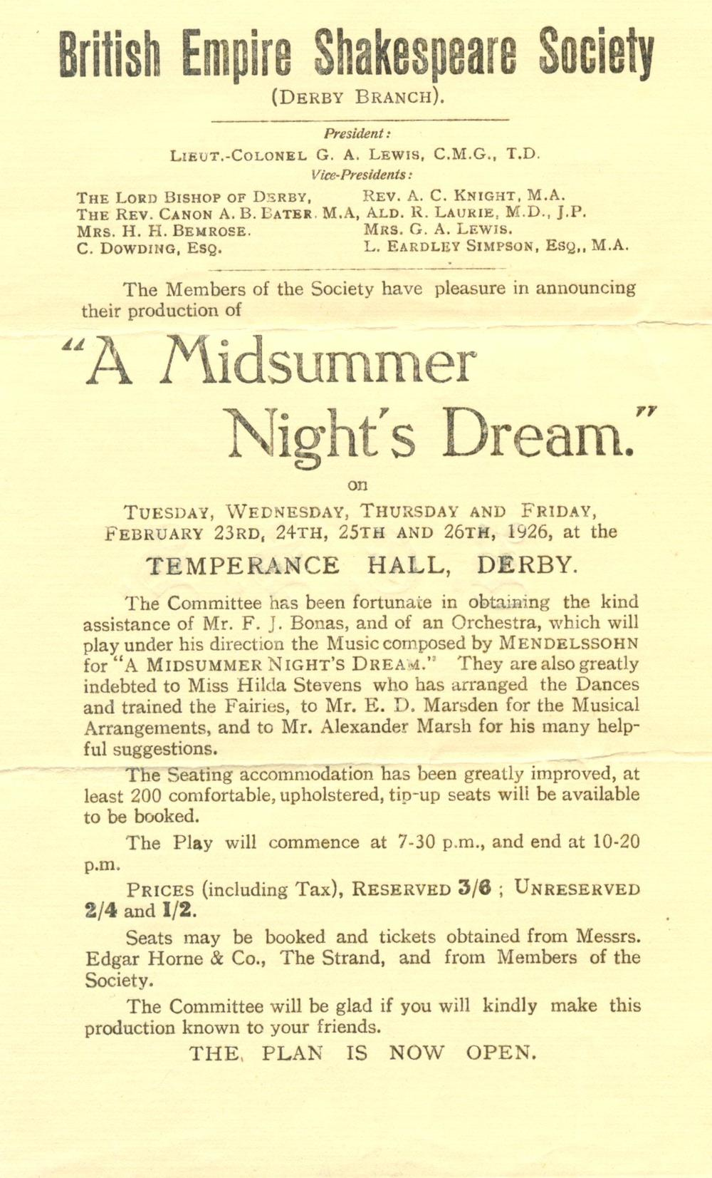 'A Midsummer Night's Dream' 1926