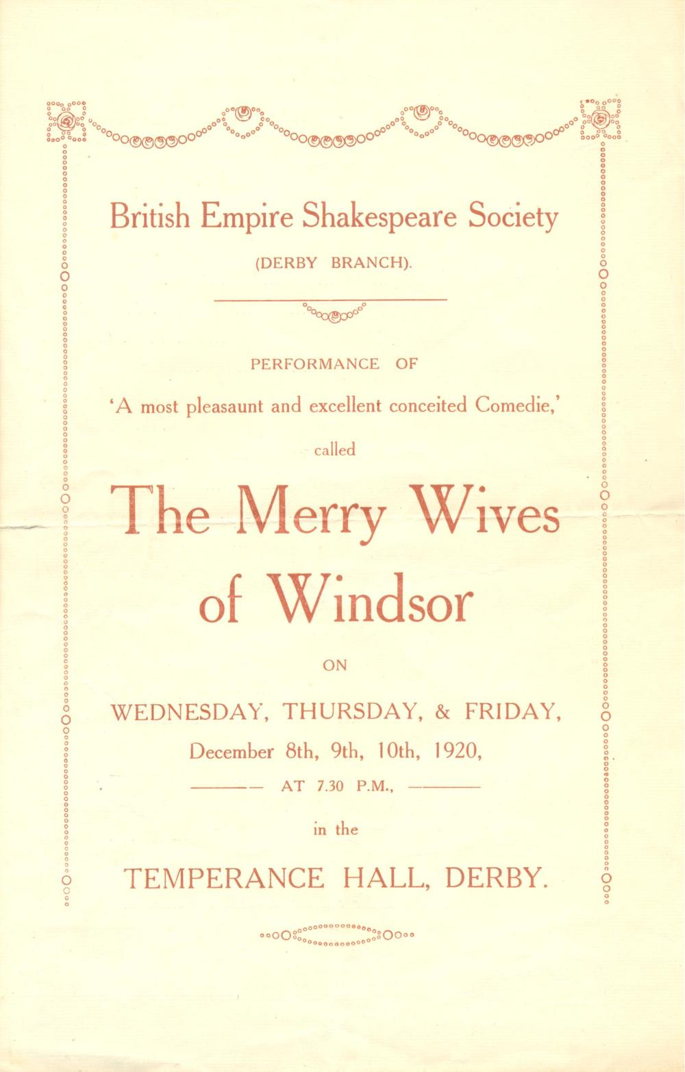 'The Merry Wives Of Windsor' 1920