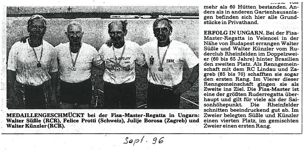 Viele Zeitungsartikel bezeugen die erfolgreiche Ruderkarriere von Walti und seinen Kollegen