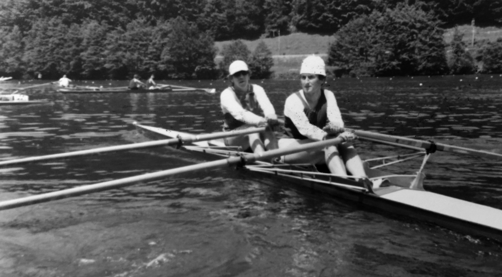 Walti mit Herbert Schmid vom SCK,1977, Sieg an der Masters Regatta Rotsee