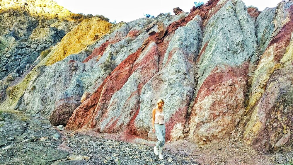Rocky color explosion in a dry riverbed...