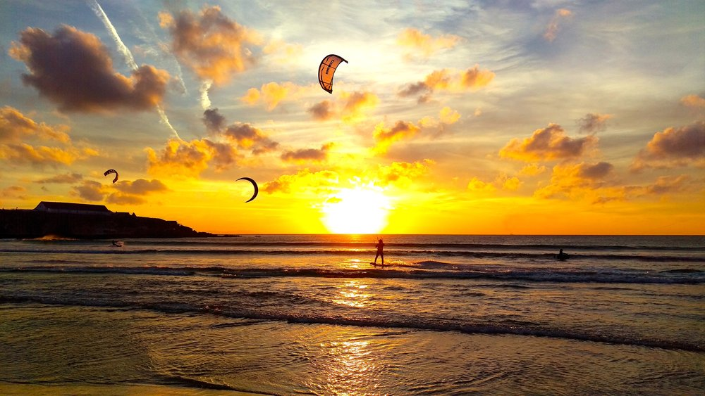 Sunset moments at Tarifa Beach are meant for Kitesurfing...