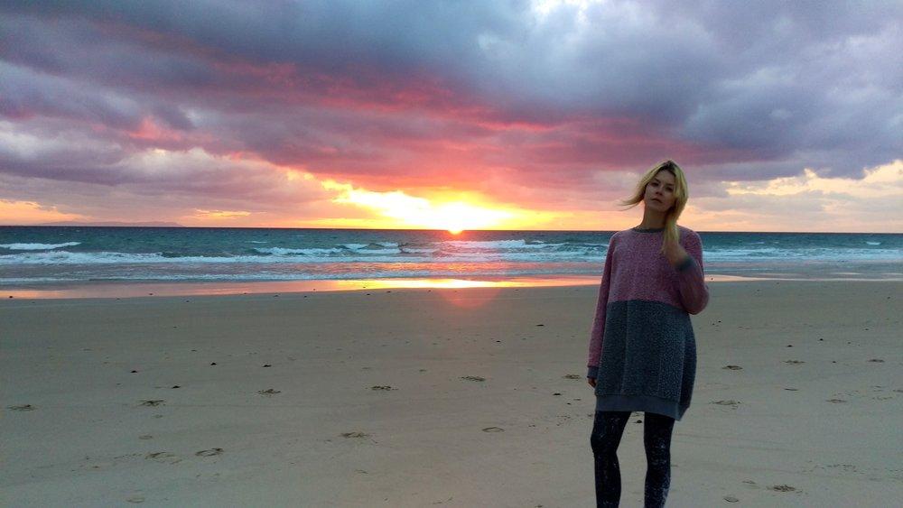Magical sunset at Playa de Los Lances...