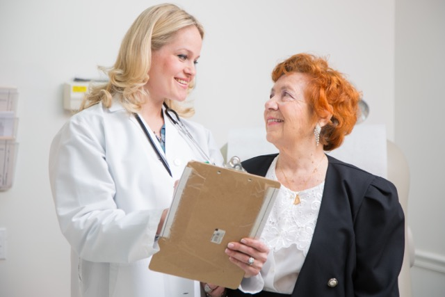 doctor and woman talking