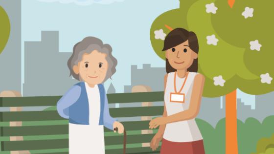 cartoon healthcare worker and elderly patient