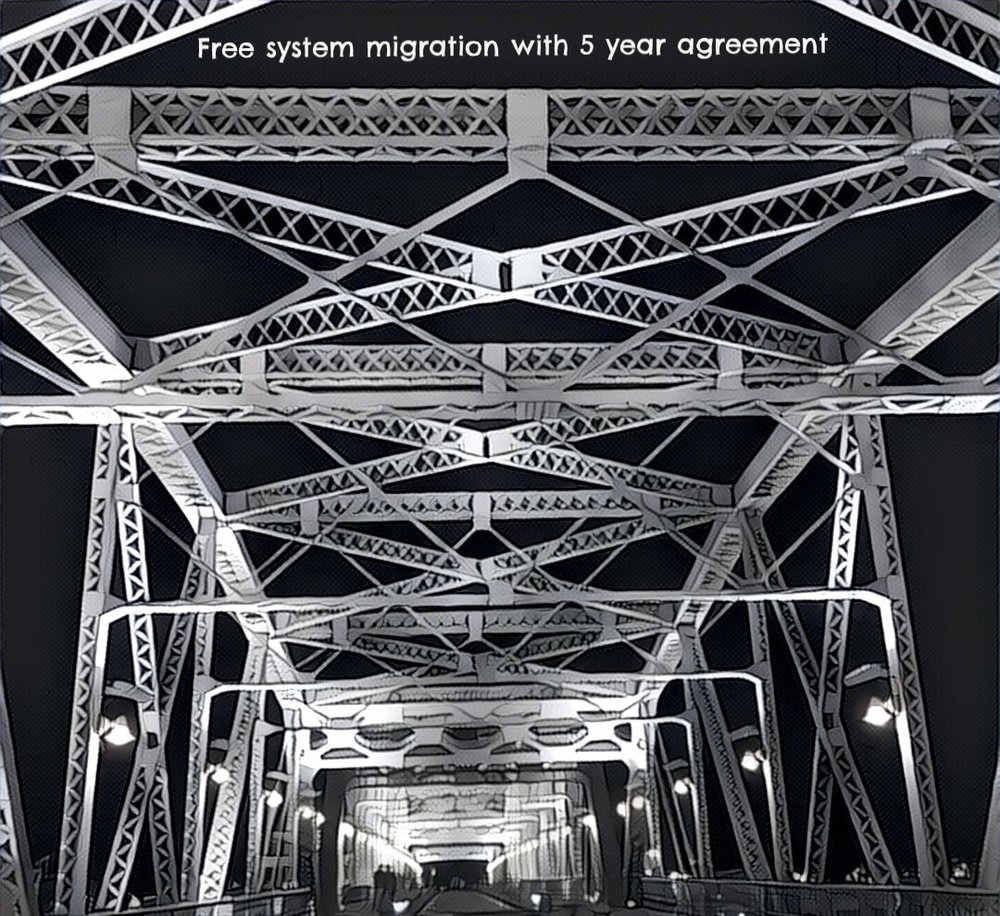 "FREE SYSTEM MIGRATION WITH 5 YEAR CONTRACT  Change rings fear in the hearts of many executives. p1 wants to build a bridge over those troubled waters by providing a free legacy system migration with the purchase of a 5 year agreement on any product in the p1 Service Line.    Our long history of quickly defining customer needs and integrating seamlessly into their daily workflow allows us to look at implementations differently than most insurance software companies. With an average implementation of just 90 days, we migrate all of your legacy systems in a quick and efficient way that keeps your data safe and secure throughout the process.    We are taking away the excuses ""it will cost to much"" and ""it will take too long"".    Now p1 wants you to ask yourself, why am I putting up with these legacy systems that are costing me a fortune to run and maintain?  Go ahead and answer, we will wait..."