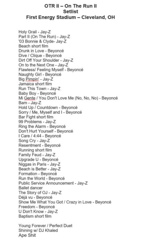 OTR II Setlist.png