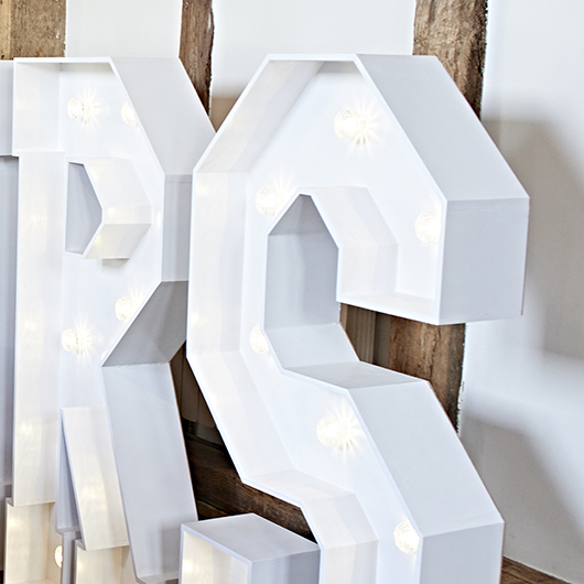 Handmade white light up letters