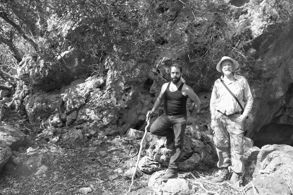 Dimitri and Rufus Reade in October 2016 at the 'Lice cave', Crete