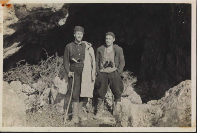 Patrick Leigh Fermor and Alec Tarves,  January/February 1943 at the 'Lice cave'.