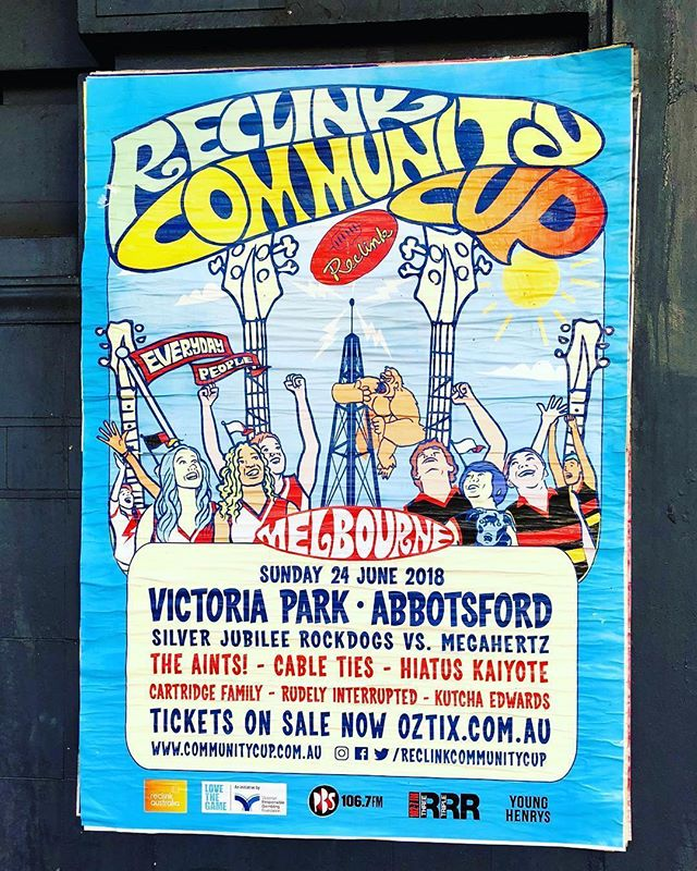 #Repost @melbournemusicposters reclinkcommunitycup #victoriapark #abbotsford #melbourne #rockdogsvmegahertz #theaints #cableties #hiatuskaiyote #cartridgefamily #rudelyinterrupted #kutchaedwards #melbournemusic #melbournemusicposters