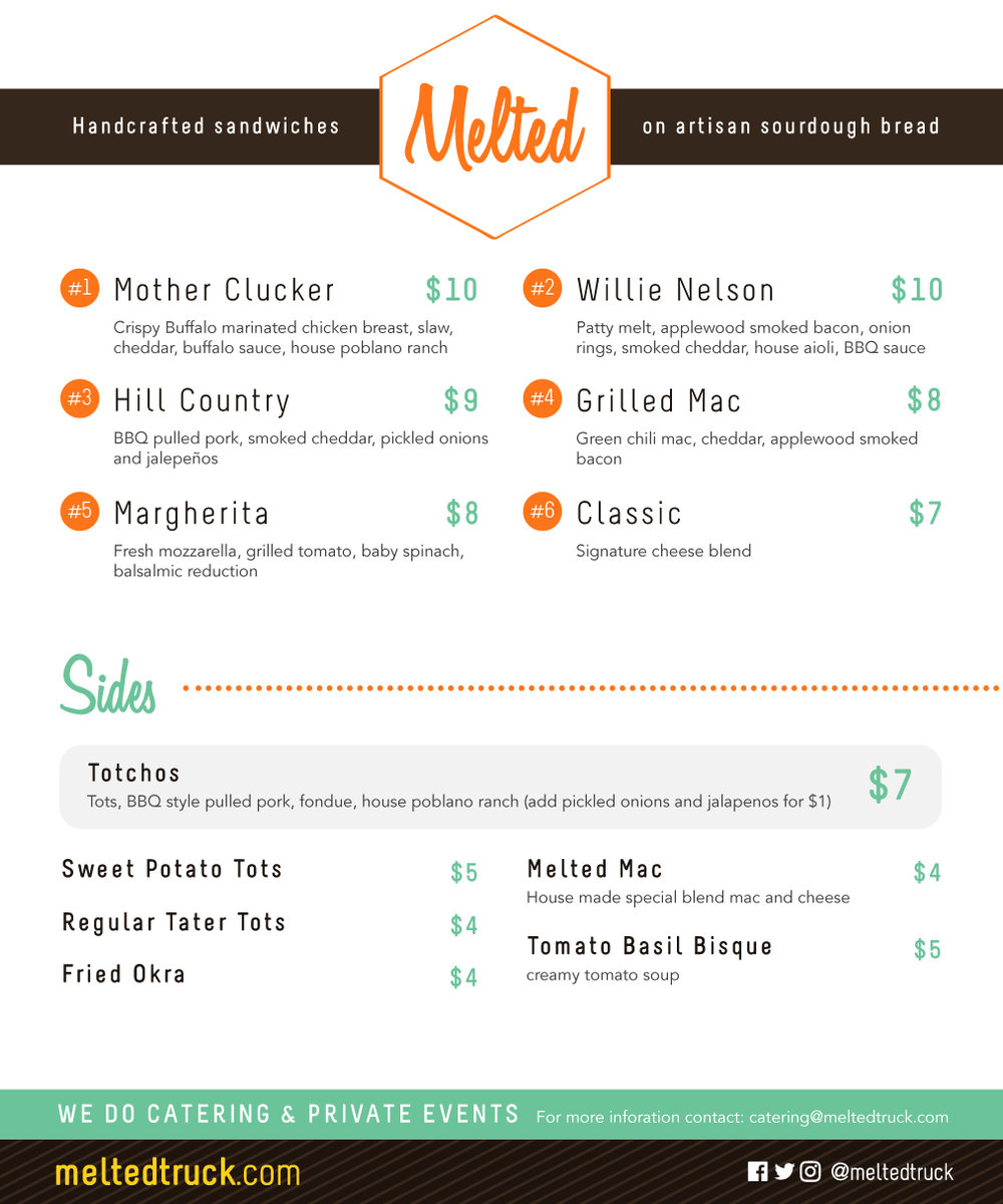 Melted Truck Menu