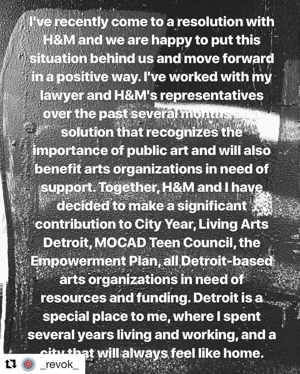 Statement from Revok's Instagram page.