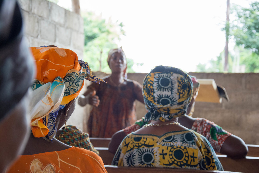 Adzo (Ah-Joe), one of the women Abra has mentored, teaching women's Sunday school in Agou.