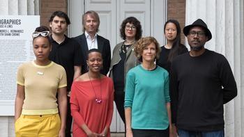 Shani Crowe (front, from left), Amanda Williams, Jeanne Gang and Andres L. Hernandez. Associate curator Iker Gil (back, from left), curator Niall Atkinson, curator Mimi Zeiger, curator Ann Lui. Photo credit: Francesca Bottazzin