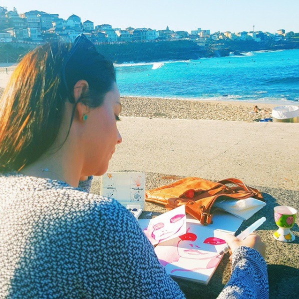 Christy painting at Bondi Beach in Sydney