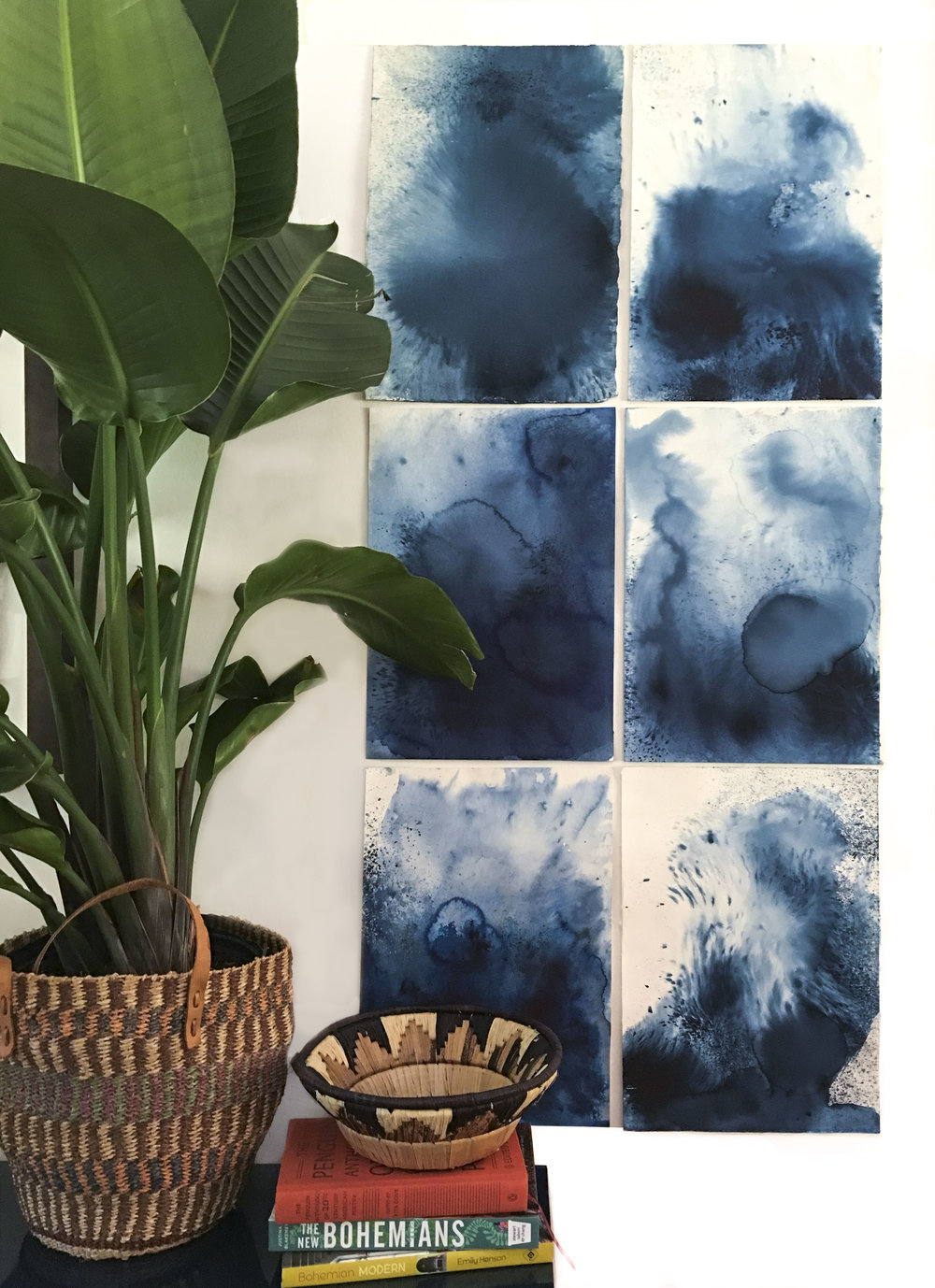 Emily Mann, Ink and Indigo, Abstract Indigo 1, 22 x 12 each, install view .JPG