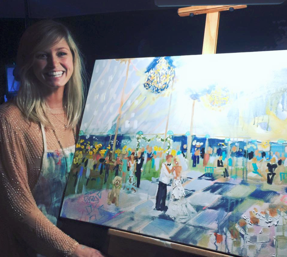 Here Elaine is doing a live event painting at a wedding. What a fabulous idea