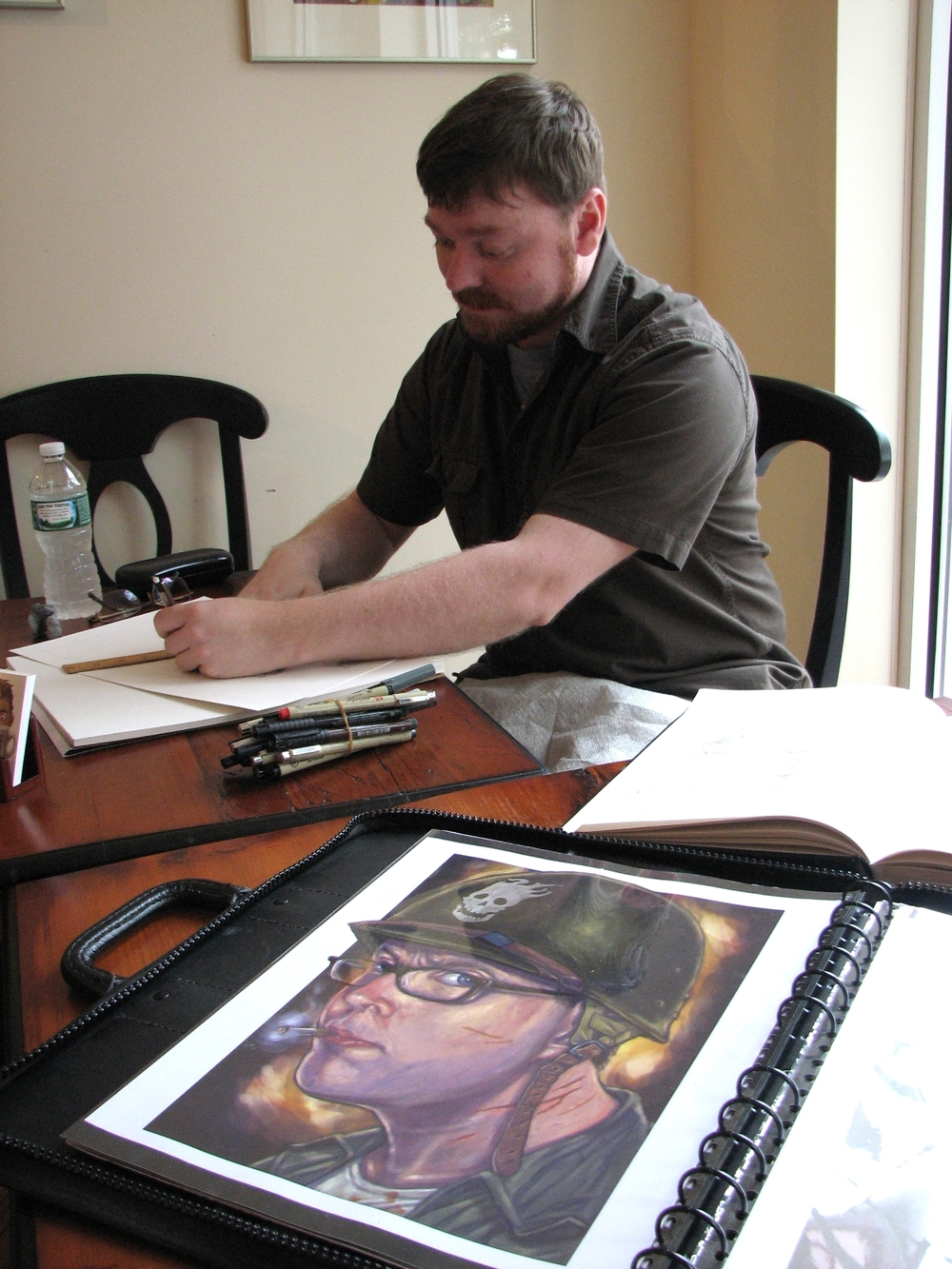 Illustrator Sean Classon demonstrates pen and ink drawing.