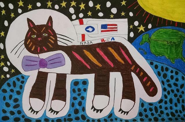 Astronaut cat by Barbara Welborn