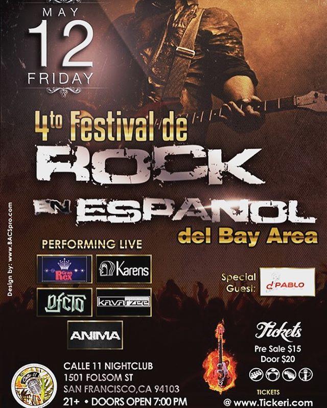 Get your Pre Sale Tickets @ http://bit.ly/2nW0cjS #Festival #RockenEspañol #BayArea #4FREBA #Lineup #ElGranRex #Karens #Kavarzee #Dfcto #Ánima #Animasfo