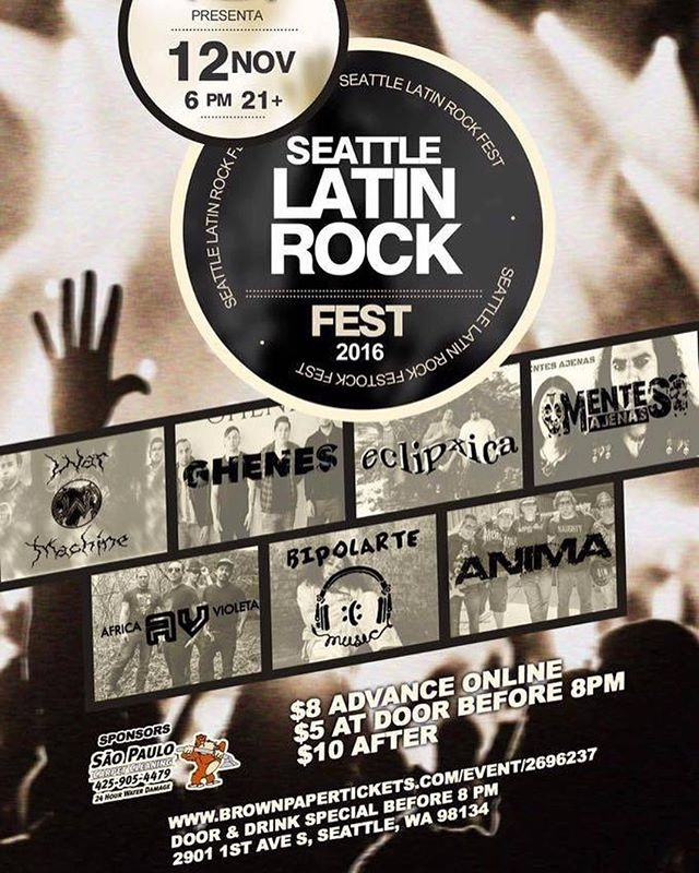 SEE YOU THIS SATURDAY SEATTLE,WA! #SeattleLatinRockFest2016 Saturday Nov. 12th 6pm. See you guys there! #Anima #Concert #Festival #RockenEspañol #Seattle #ClubSur #RockPeruano