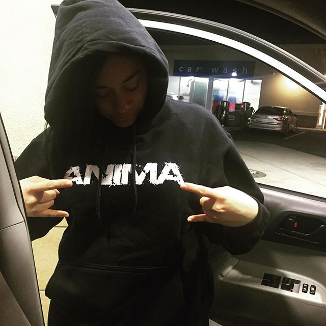 A Loyal Fan wearing her #Anima #Hoddie #BayAreaRock #animasfo #RockenEspañol